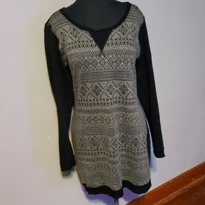 Black Patterned Tunic Sweater
